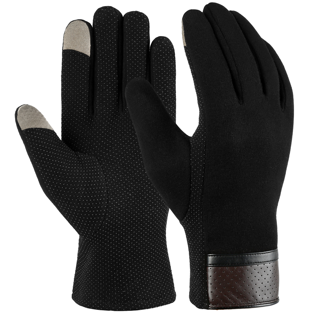 Vbiger Winter Warm Texting Gloves Cold Weather Casual Gloves for Men, Black, L
