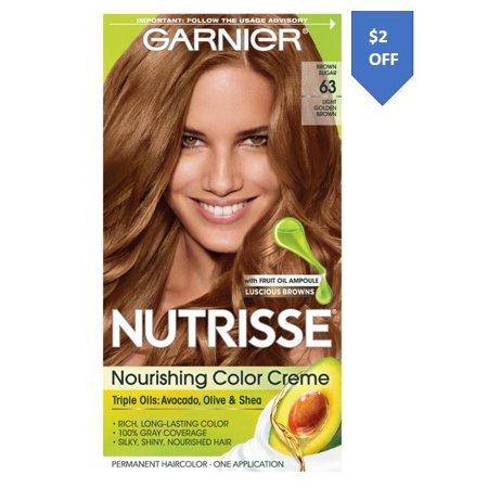 Garnier Nutrisse Nourishing Hair Color Creme (Browns), 63 Light Golden Brown (Brown Sugar), 1