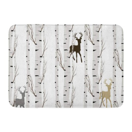 GODPOK Green Animal Blue Cute Birch Tree Deer Gray Stag White Antler Rug Doormat Bath Mat 23.6x15.7 inch