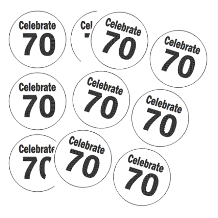 120ct Celebrate 70 (70th Birthday) Stickers - Cheap 70th Birthday Invitations