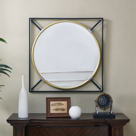 "Southern Enterprises Salgore Oversized Decorative Wall Mirror, Eclectic Style, Black w/ Gold 31""x31"""