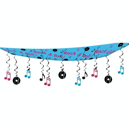 6 Rock & Roll Theme Record and Music Note Hanging Ceiling Party Decorations 12' - Music Note Decorations