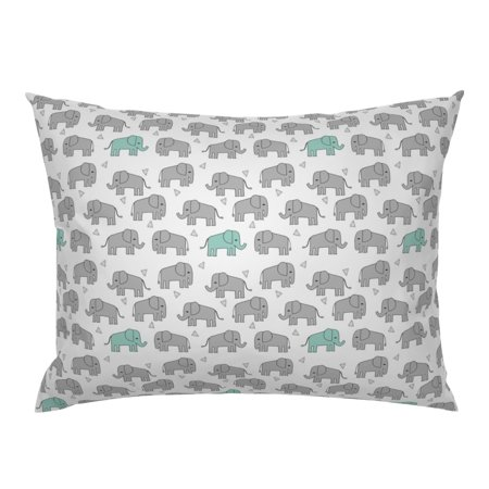 Elephant Nursery Baby Mint And Pillow Sham by Roostery Mist Pillow Sham