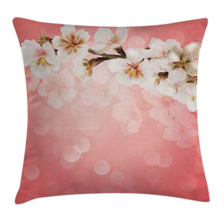 Coral Throw Pillow Cushion Cover, Blossoming Tree Branch Japanese Cherry Sakura Fresh Spring Garden Romantic, Decorative Square Accent Pillow Case, 16 X 16 Inches, Coral Green White, by Ambesonne