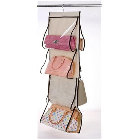 Ybmhome Hanging Closet 8 Pocket Handbag Holder Rack Organizer Purse Storage, Natural/Brown Trim with Clear Pockets 2208