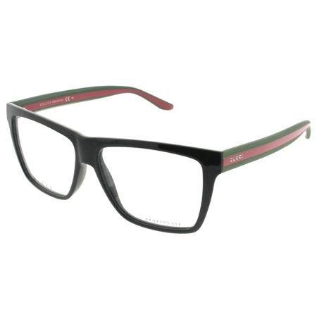 ab97391e1b4 Gucci GG 1008 51N 55mm Shiny Black Red Green Rectangle Unisex Eyeglasses -  Walmart.com