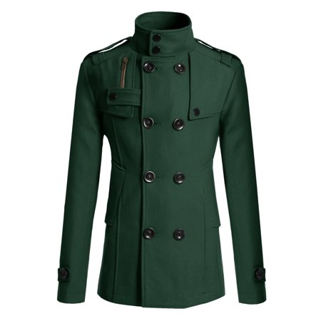 Mens Slim Fit Half Trench Wool Pea Coat
