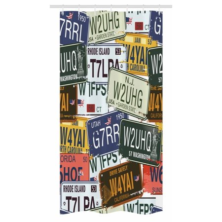 Vintage Stall Shower Curtain Original Retro License Plates Personalized Creative Travel Collections Art Fabric