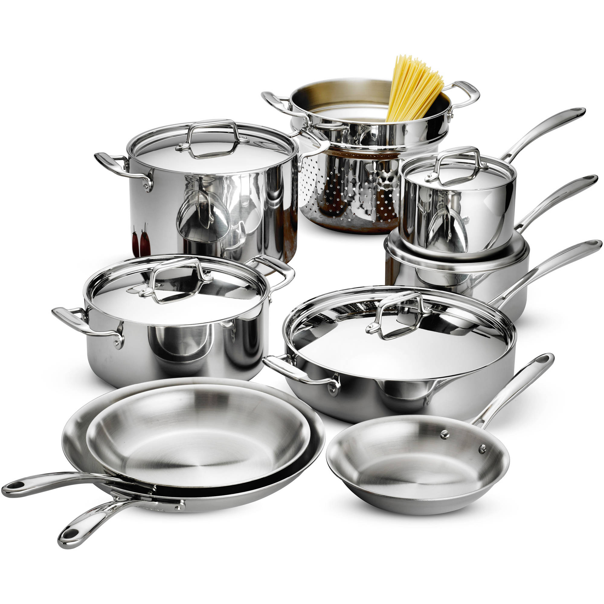 Tramontina 14 piece tri ply clad cookware set stainless for Kitchen set royal surabaya