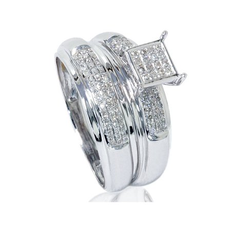 1/2ct Pave Diamond Princess Cut Shape Engagement Ring Set 10K White Gold
