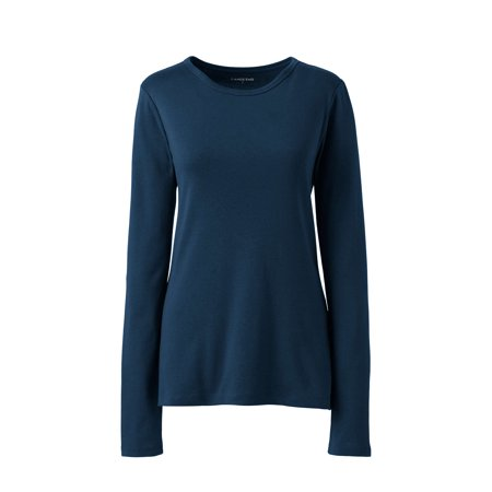 Lands' End Women's Plus Size Long Sleeve Rib Crew Tee Classic Supporters Rugby Shirts