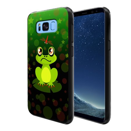 FINCIBO Soft TPU Black Case Slim Protective Cover for Samsung Galaxy S8, Green Frog