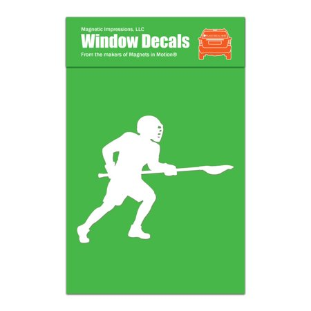 Lacrosse Male Long Pole Window Decal White (Lacrosse Decorations)