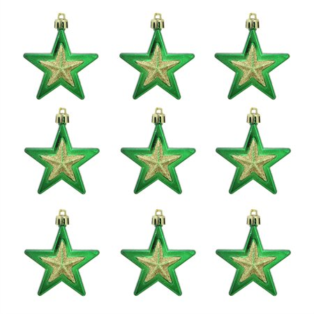 9ct Green and Gold Glittered Shatterproof Star Christmas Ornaments 2.75