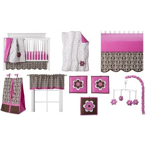 Bacati - Floral Damask Pink/Chocolate Girls 10pc Nursery-in-a-Bag Crib Bedding Set for US standard Cribs
