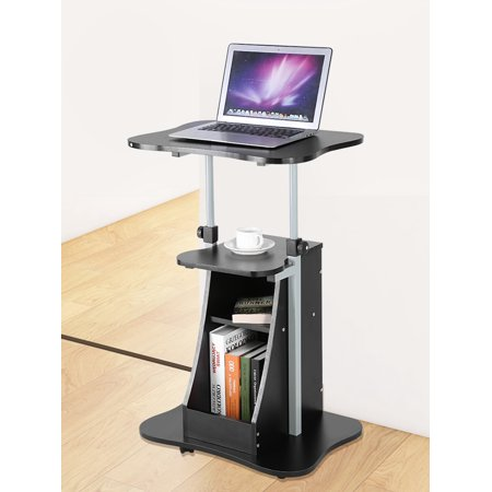 Standing Computer Desk,Height Adjustable Laptop Cart Standing Notebook Desk Table Storage Compartment with Wheel