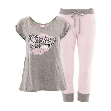 Love Loungewear Juniors Kissing Is Underrated Capri Valentines Pajamas - Valentines Pajamas