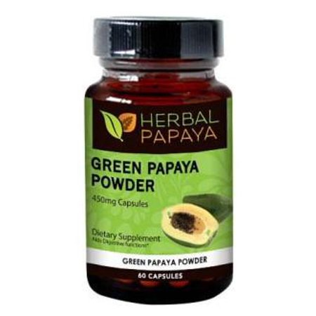 Green Papaya Powder Capsules - Natural Blood Platelet Level Boost - Bone Marrow Support - Blood Cleanse and Detox - Immune Health - 60/450mg Veggie Capsules