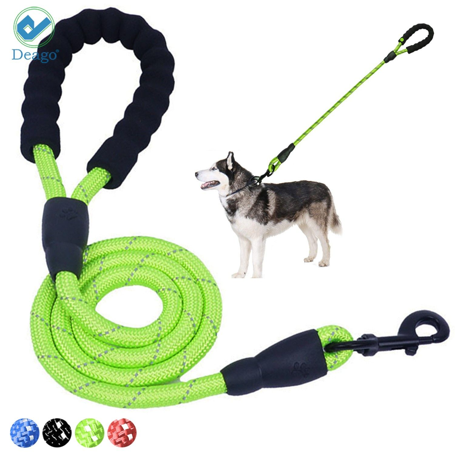 Pety Wo Dog Cotton Rope Leash 5FT Heavy Duty Training Lead Multicolor Traction Rope for Medium Large Dogs Walking Running Camping