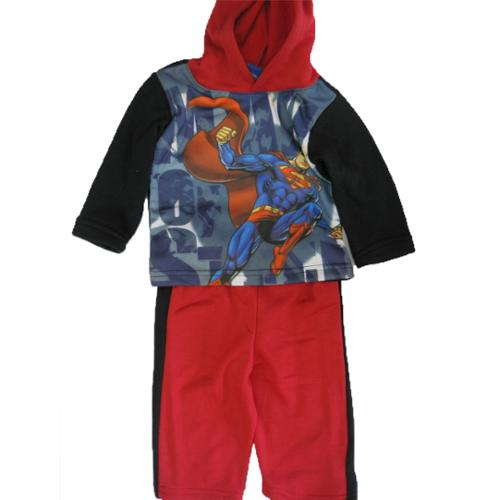 Superman Baby Boys Red Black Superhero Character Hooded 2 Pc Pants Set 12-24M