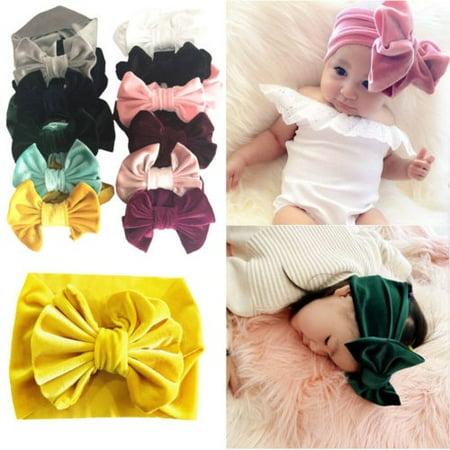 Soft Baby/ Girls Kids Toddler Bow Hairband Headband Turban Big Knot Head-Wrap (Big Bow Headbands)