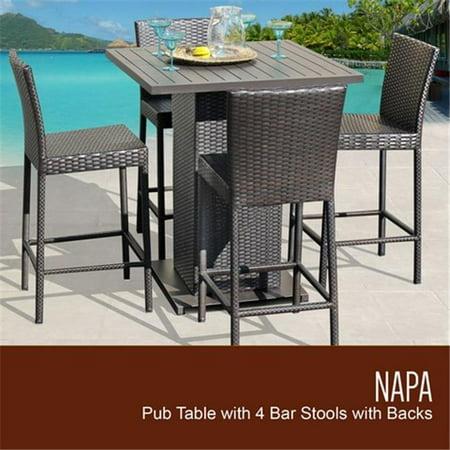 TKC Napa Pub Table Set with Barstools 5 Piece Outdoor Wicker Patio  Furniture, - TKC Napa Pub Table Set With Barstools 5 Piece Outdoor Wicker Patio