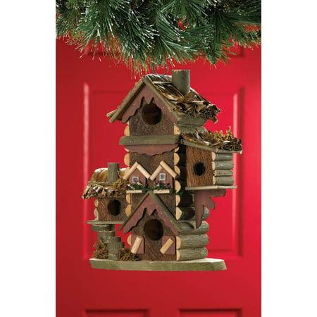 Chickadee Birdhouse, Wooden Hangging Outdoor Sparrow Gingerbread-style (Gingerbread Style Birdhouse)
