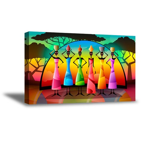 Awkward Styles African Women Canvas Wall Decor Colorful Landscape Canvas Painting for Office New African Collection Modern Artwork for Kitchen African Woman Portrait Beautiful African Landscape