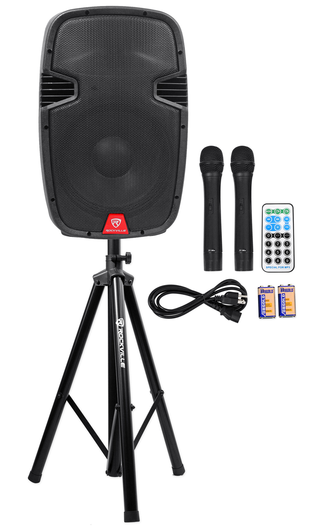 "Rockville RAM12BT 12"" Rechargable Powered 600W PA Speaker+2 Mics+Bluetooth+Stand by ROCKVILLE"
