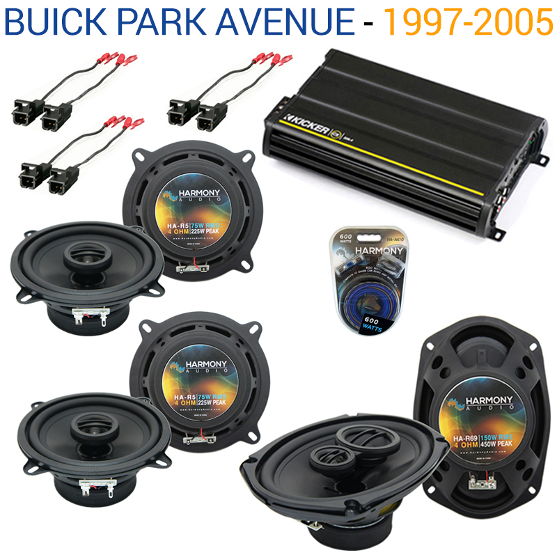 Buick Park Avenue 97-05 OEM Speaker Upgrade Harmony (2) R5 R69 & CX300.4 Amp - Factory Certified Refurbished