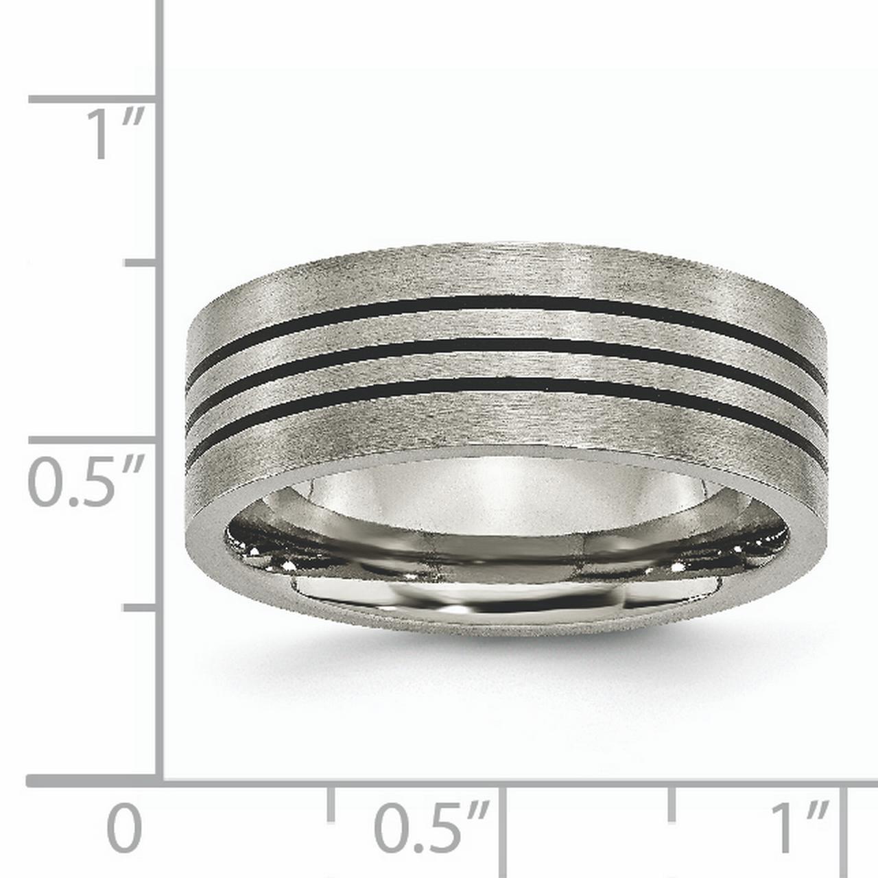 Titanium Enameled Flat 8mm Satin /& Polished Band Box