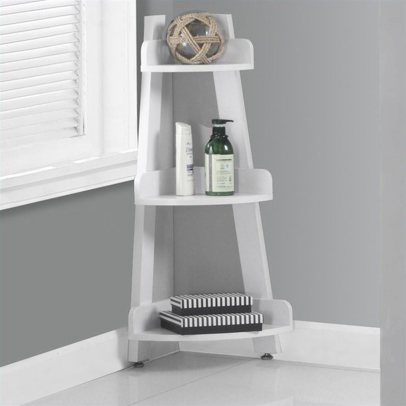 "Monarch 34"" Corner Etagere in White"