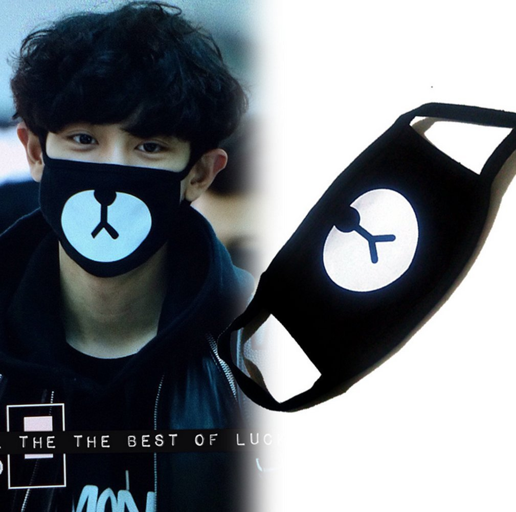 Unisex Cotton Cartoon Bear Face Mask Dust Proof Mask Black