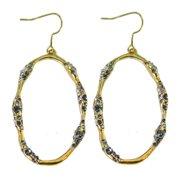 De Buman  18k Yellow Gold Plated Black Czech Dangle Earrings