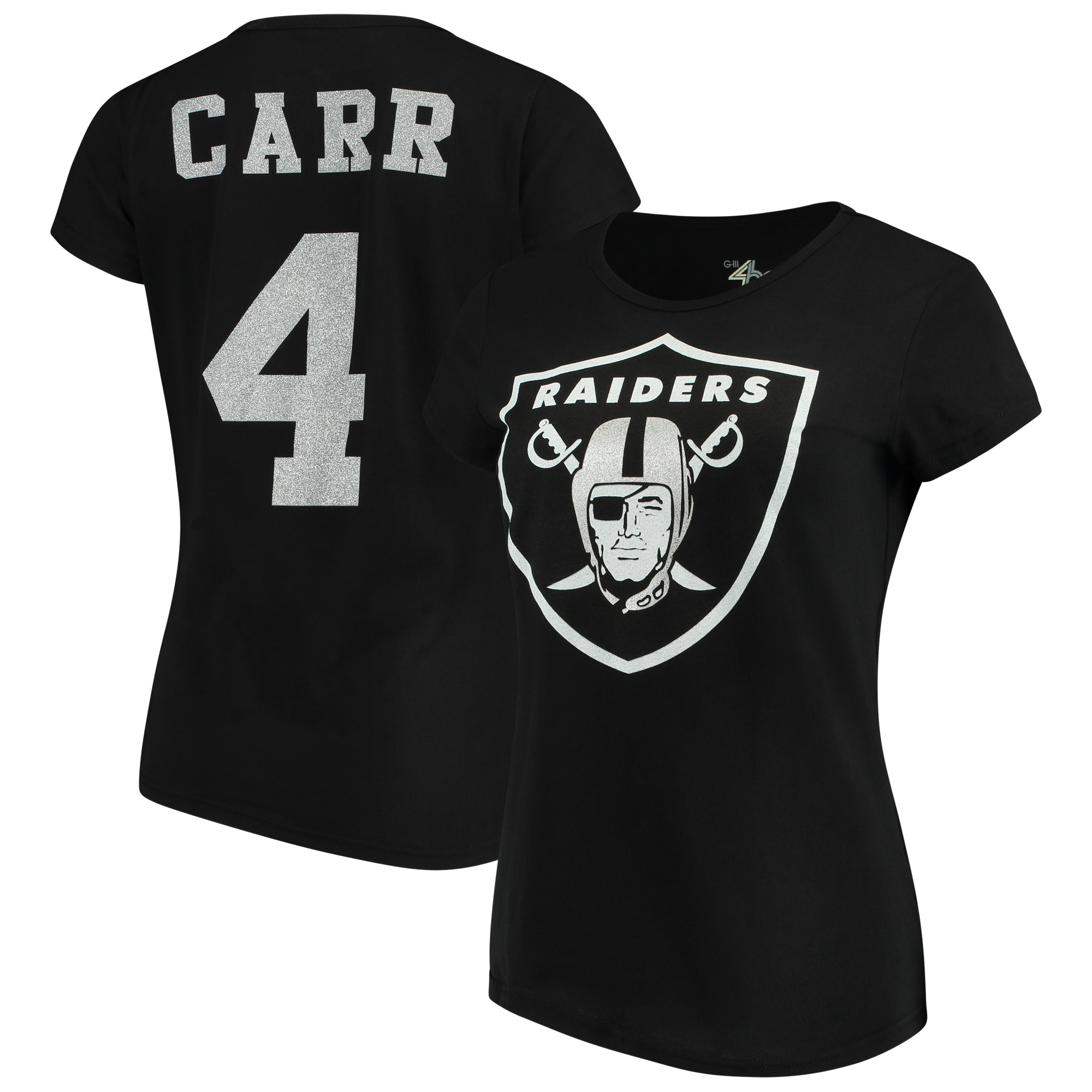 Derek Carr Oakland Raiders G-III 4Her by Carl Banks Women's Glitter Endzone Player Name & Number T-Shirt - Black