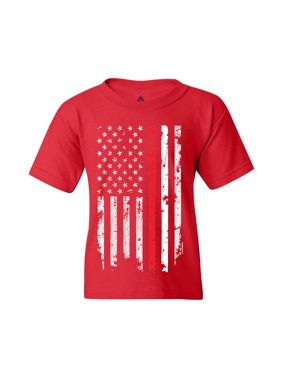 Shop4Ever Youth American Flag Red Line Patriotic 4th of July Graphic Youth T-Shirt