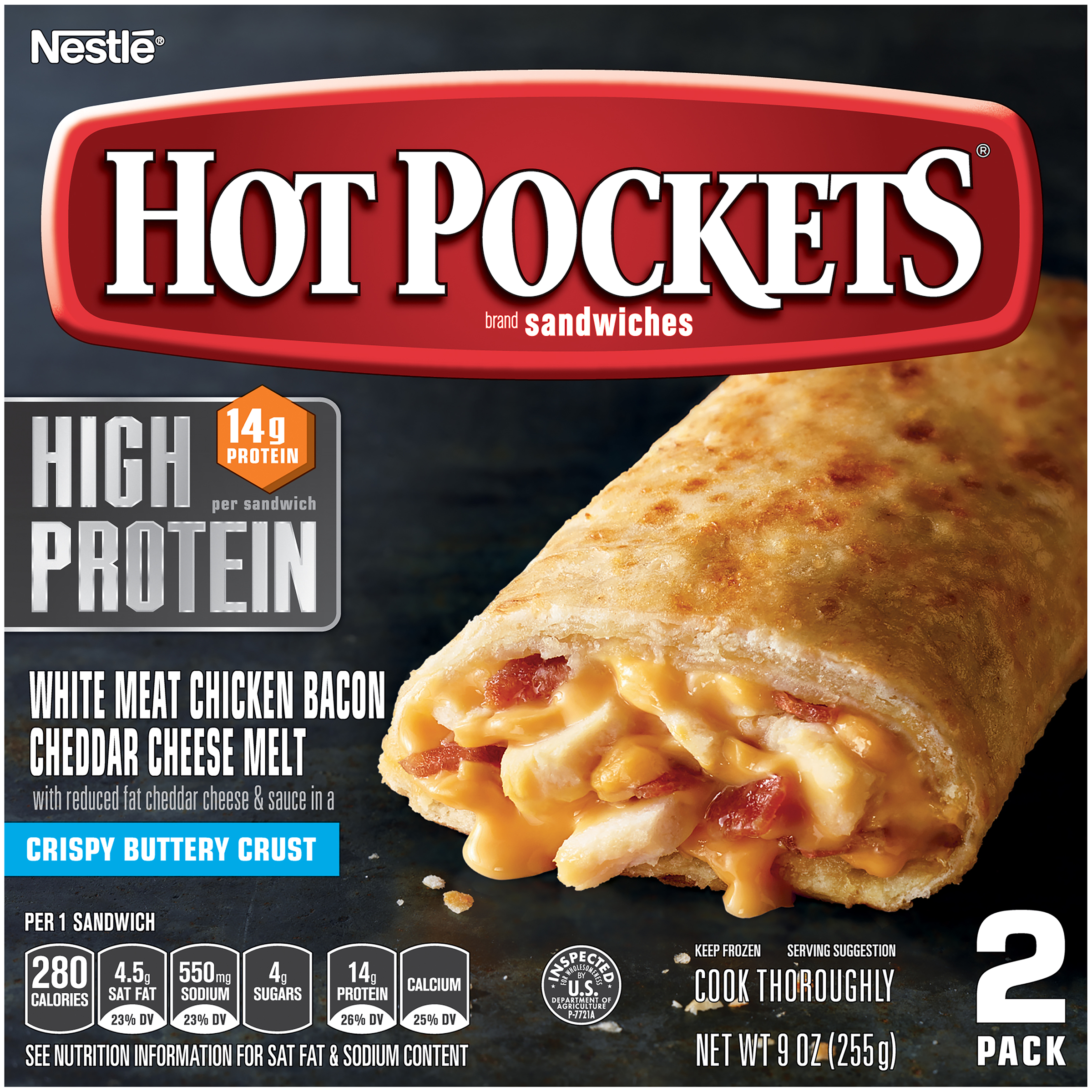 HOT POCKETS Chicken Bacon and Cheddar Cheese Melt Sandwiches – Hot Pockets Frozen Sandwiches with No Artificial Flavors and 14g of Protein, 2 Pack