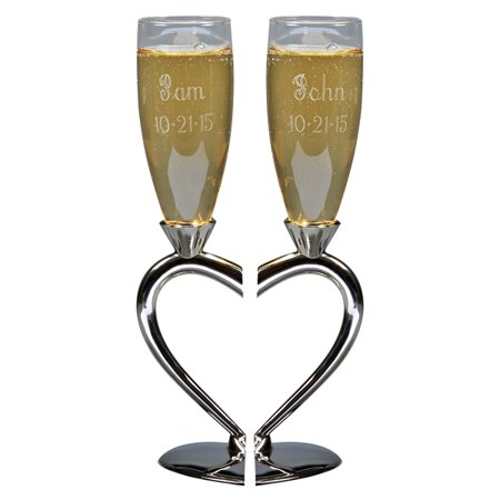 Personalized Wedding Toasting Flutes, Split Heart Base, Nickel