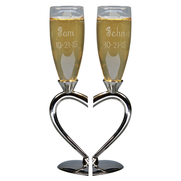 Personalized Wedding Toasting Flutes, Split Heart Base, Nickel Plated