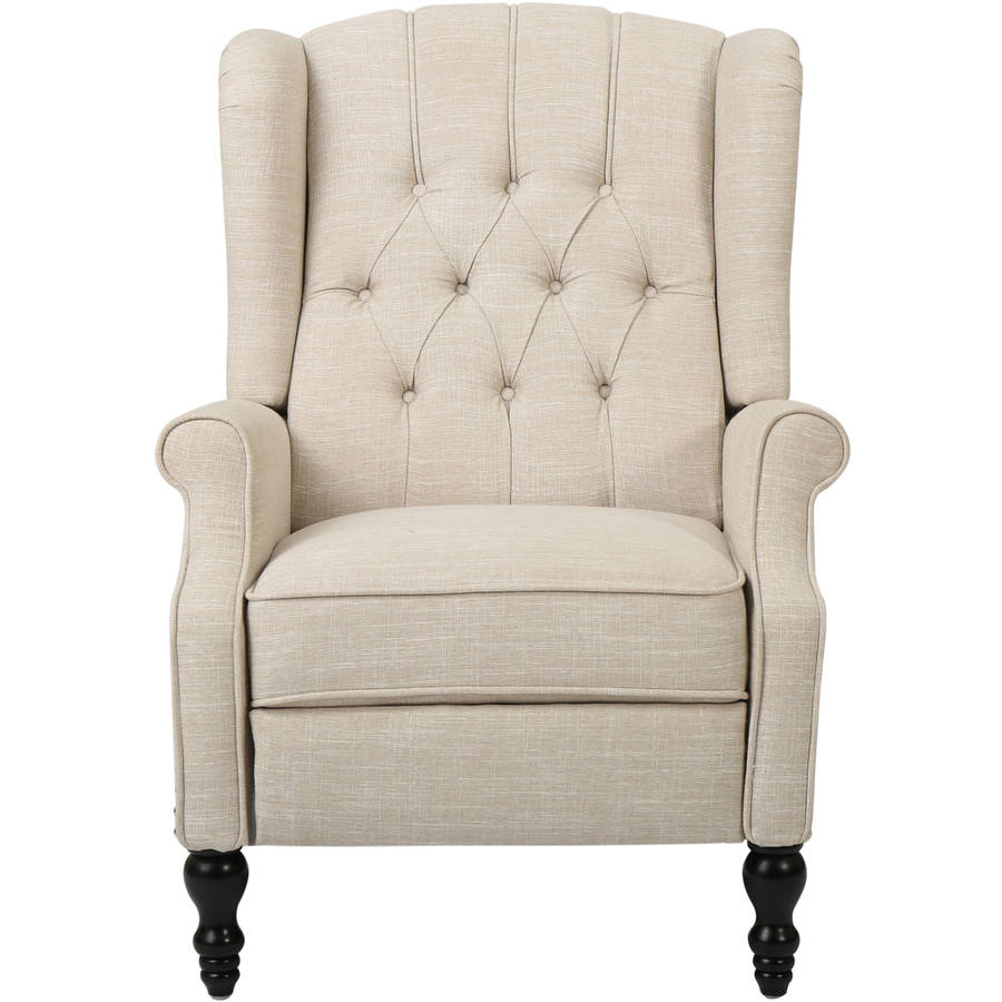 noble house bruce tufted beige fabric wingback recliner