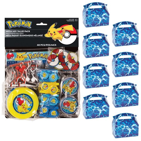 Pokemon Core Filled Favor Box Kit (For 8 Guests) - Pokemon Birthday Favors