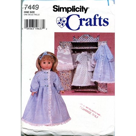 Simplicity Sewing Pattern 7449 Wardrobe and Clothing for 18