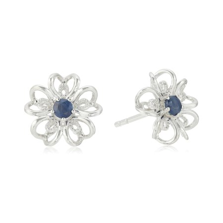 Pinctore Sterling Silver Genuine Blue Sapphire Stud Earrings