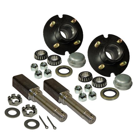 Pair Of 4-Bolt on 4 Inch Trailer Hub Assemblies - Includes (2) Square Shaft 1 Inch Straight Spindles & -