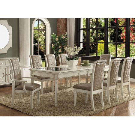 Stupendous Antique White Dining Table Set 9Pcs With Leaves Acme Furniture 62090 Florissa Bralicious Painted Fabric Chair Ideas Braliciousco