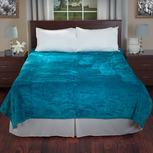 Somerset Home Solid Soft Heavy Thick Plush Mink Blanket 8 pound - Aqua