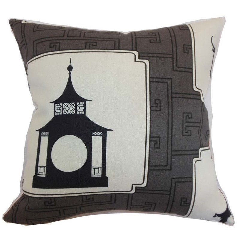"""The Pillow Collection 18"""" Square Kashi Geometric Throw Pillow by The Pillow Collection"""