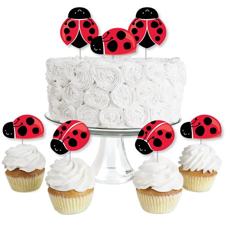 Ladybug Cake Toppers (Happy Little Ladybug - Dessert Cupcake Toppers - Baby Shower or Birthday Party Clear Treat Picks - Set of)