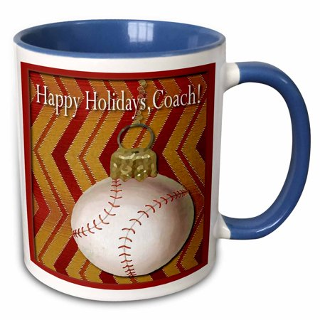 3dRose Baseball Thank you Coach - Two Tone Blue Mug, 11-ounce ()
