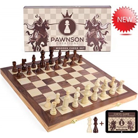Wooden Chess Set for Kids and Adults - 15 Staunton Chess Set - Large Folding Chess Board Game Sets - Storage for Pieces | Wood P Deluxe Staunton Chess Set